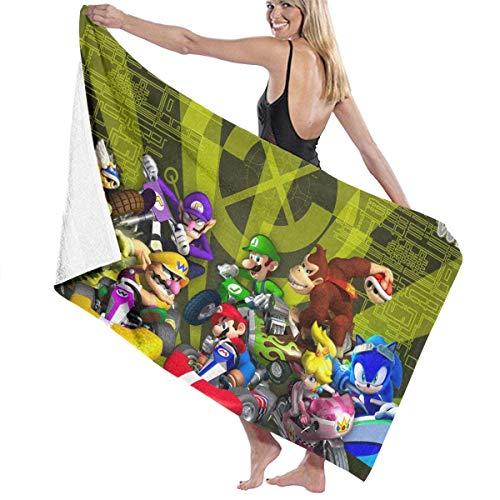 WayGoTee Mar-io K-Art Toalla de playa de microfibra toalla de baño toalla de secado rápido para viajes, natación, piscina, yoga, camping, gimnasio, deporte