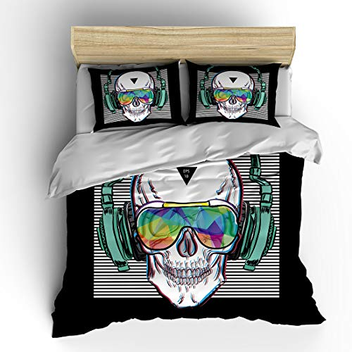 SHOMPE Music Skull Bedding Sets Full Size,Kids White Stripes Punk Rocker Headphones Skull Duvet Cover Set with Pillowcases for Teens Boys Girls,NO Comforter