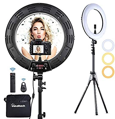 Inkeltech Ring Light - 18 inch 2700K-5600K Dimmable Bi-Color Light Ring, 60W LED Ring Light with Stand, Lighting Kit for Vlog, Selfie, Makeup, YouTube, Camera, Phone - LCD Screen & Remote Control from INKELTECH