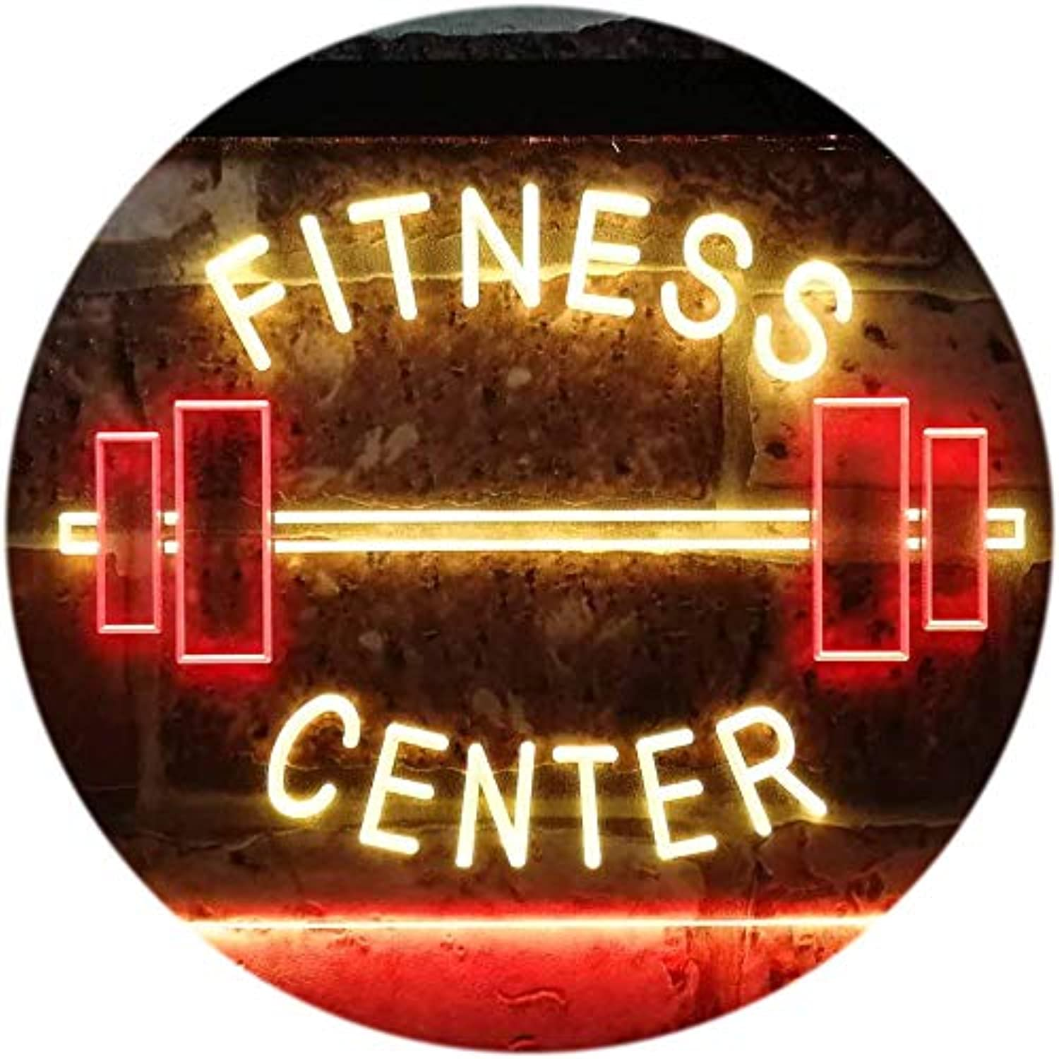 ADVPRO Fitness Center Gym Room Weight Train Dual Farbe LED Barlicht Neonlicht Lichtwerbung Neon Sign rot & Gelb 400mm x 300mm st6s43-i0313-ry