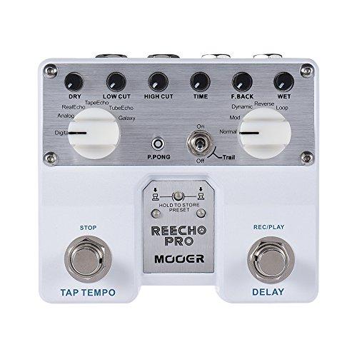 Muslady MOOER Reecho Pro Retardo Digital de Efectos de Guitarra Pedal Doble Interruptor de Pie con 6 Efectos de Retardo de Grabación de Bucle (20 segundos) Función