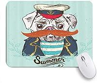 PATINISAマウスパッド 帽子のパグ口ひげジャケットとシャツ犬キャプテンかわいい動物面白い ゲーミング オフィス おしゃれ 良い 滑り止めゴム底 ゲーミングなど適用 マウス 用ノートブックコンピュータマウスマット
