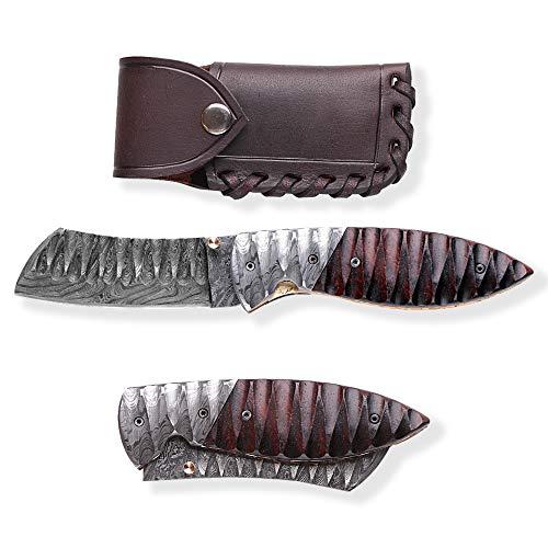 DELLINGER Tanto Obsidian & Damast Taschenmesser & Klappmesser & Damaststahl Messer & Outdoor Damastmesser Folder Knife 9 cm Klinge
