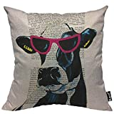 Mugod Cow Throw Pillow Case Jetset Cow in Hipster Pink Glasses Reading Article Black White Decorative Cotton Linen Square Cushion Covers Standard Pillowcase Couch Sofa Bed Men/Women 18x18 Inch