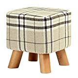 Shoze Modern Luxury Upholstered Foot<span class='highlight'>stool</span> Comfortable Round Pouffe <span class='highlight'>Stool</span>   Wooden Leg For Home Office Large Lattice <span class='highlight'>Square</span> Four-Legged <span class='highlight'>Stool</span>