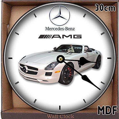 Large! Wanduhr, 30 cm, MDF, Mercedes SLS AMG, 30 cm