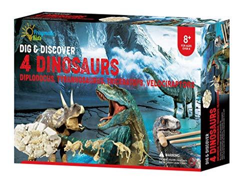 4in1 Jumbo Dino Digging Kit! Educational Dinosaur Digging Fossil Skeleton Kit for Kids. 4 Different Dinosaurs: Diplodocus, Tyrannosaurus, Triceratops, Velociraptors Beige