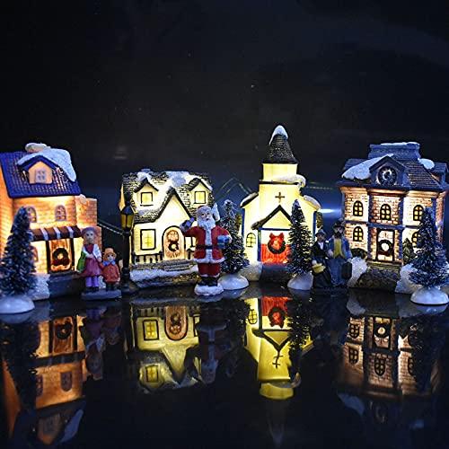Beifeng 10 piezas luminosas casa de juguete decoraciones de Navidad pequeña casa ornamento Santa Claus Set regalo para niños