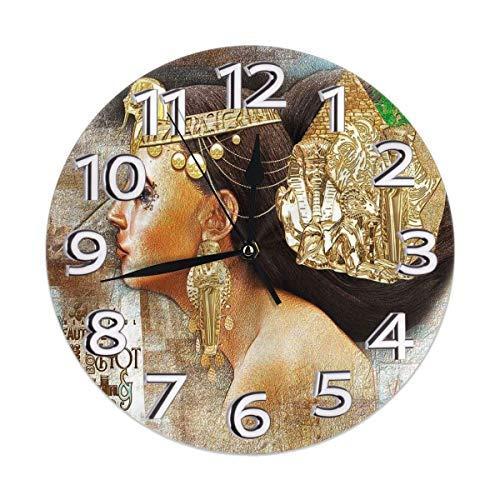 Orologio Egiziano da Donna Queen Art Orologio da Parete Silenzioso AntiGraffio - Quadrante colorato Rotondo a Batteria al Quarzo di qualità da 10 Pollici