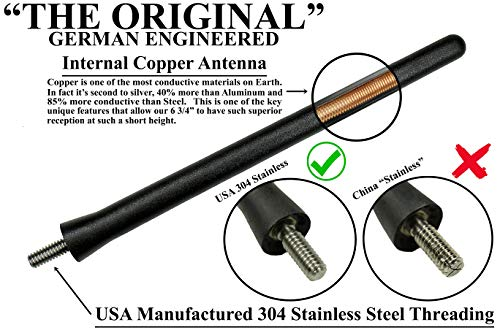 AntennaMastsRus - The Original 6 3/4 Inch Antenna fits Jeep Wrangler JK - JL - Gladiator (2007-2021) - USA Stainless Steel Threading - Car Wash Proof - Internal Copper Coil