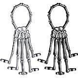 2 Pieces Halloween Skull Skeleton Hand Bracelet with Ring Metal...