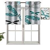 Hiiiman Cortinas térmicas aisladas 100% opacas, cenefa ornamental de libélulas, con efectos de encaje y damasco, juego de 2, 137 x 91 cm para dormitorio con ojales