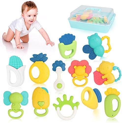 12 Pack Rassel Beißring Set Baby Spielzeug Shaker Greifen Rassel Baby Kleinkind Neugeborenen Spielzeug Frühe Lernspielzeug Kann Bei 100℃ Sterilisiert Werden,Für 0-6-12-18 Monate Baby Geschenke