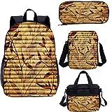 Juego de mochila escolar y bolsa de almuerzo, color beige de 17 pulgadas, hojas de bambú bohemia 4 en 1 mochila conjuntos