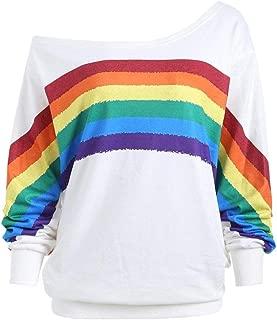 Women's Hoodies, FORUU Casual Loose Long Sleeve Rainbow Print Pullover Blouse Shirts Sweatshirt