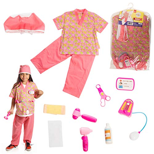 DRESS 2 PLAY Nurse Pretend Costume, Dress up Set with Accessories, 6 Pc Set