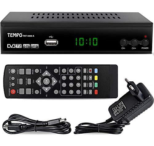 hd-line Tempo 4000 A DVBT2 Receiver Full HD 1080P 4K für TV ( HEVC/H.265 HDMI SCART, USB 2.0 , DVBT-2 , DVB-T2 , DVB T2 , DVBT 2 ), Reciver , Resiver, Empfänger , Schwarz, tmp4000