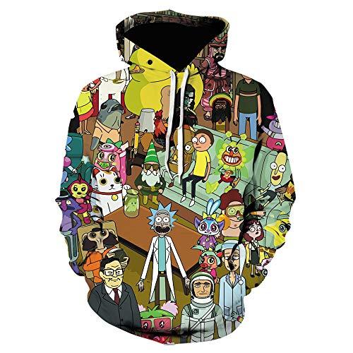 WANGZHUZHI Sudadera con Capucha Rick 3D para Hombres Y Mujeres Moda Juvenil Casual Sudadera con Capucha De Manga Larga para Hombre Ropa-We-1322_XXL