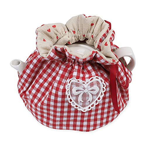 Modern Design Printed Tea Cosy,Creative Kitchen Tea Pot Dust Cover,Tea Cosy Breakfast Warmer,Kettle Cover,Insulation and Keep Warm,CYFC1382(Red Plaid)