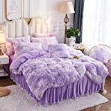 JAUXIO Luxury Abstract Faux Fur Bedding Set Tie Dye Printed Shaggy Duvet Cover with Pillow Shams Soft Crystal Velvet Reverse (Queen, Lilac)