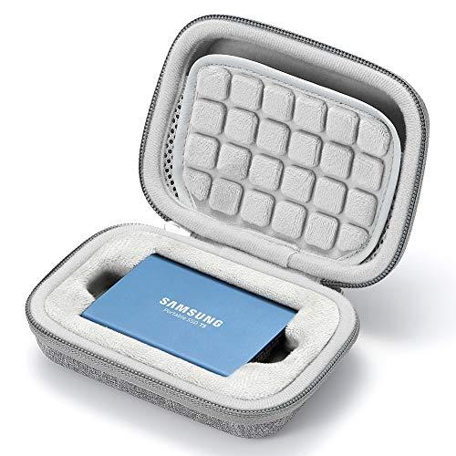 Hard Case für Samsung T5 / T3 / T1 tragbare 250 GB 500 GB 1 TB 2 TB SSD USB 3.0 Externe Solid-State-Laufwerke, Reisetasche mit Aufbewahrungstasche - Grau (graues Futter)
