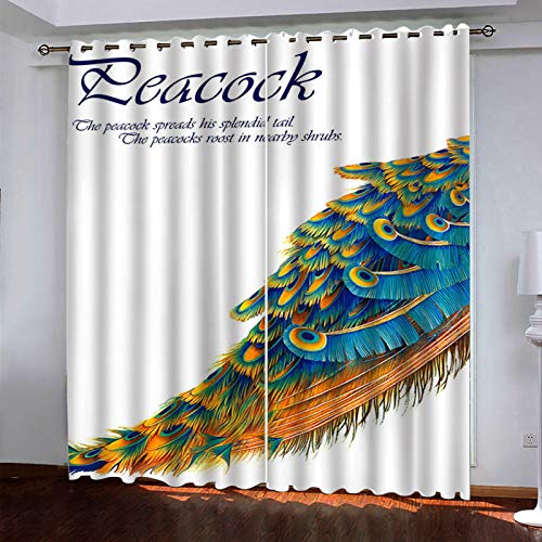 MMHJS Nordic 3D Digital Printing Curtains, Polyester Thickened Waterproof And Thermal Insulation Vertical Curtains, Blackout Fabric Curtains For Bedroom And Living Room (2 Pieces)