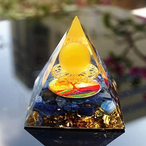 KDHJY Hecho A Mano Orgonita Pirámide 60 MM Amarillo ágata y cianita Esfera de Cristal Orgón árbol de la Vida Pirámide (Size : 60mm)
