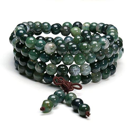 Jovivi 8mm Natural Moss Agate Stone Healing Gemstone 108 Mala Prayer Beads Stretch Bracelet Necklace