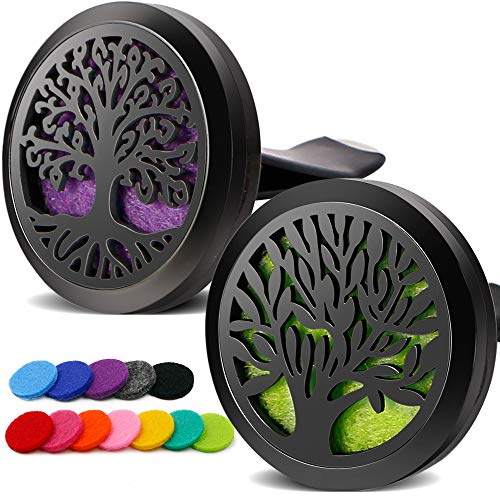 RoyAroma 2PCS Tree of Life Car Diffuser Aromatherapy Essential Oil Black Stainless Steel Locket with Vent Clip 12 Felt Pads