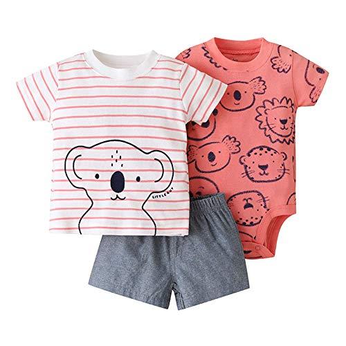 Bebé Ropa Mamelucos + Camiseta + Pantalón 3Pcs Trajes, Peleles Manga Corta Algodón Monos Recién Nacido Regalo Verano Niños Niñas 12-18 meses
