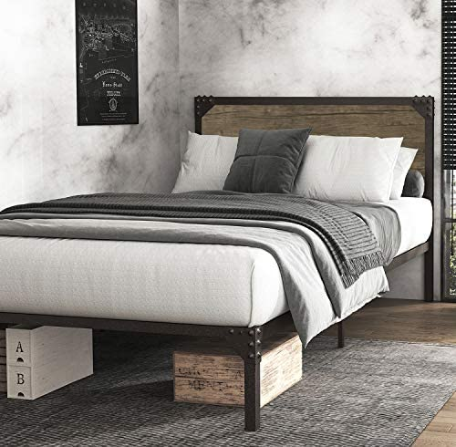 Einfach Twin Metal Platform Bed Frame with Wooden Rivet Headboard Mattress Foundation with 13 product image