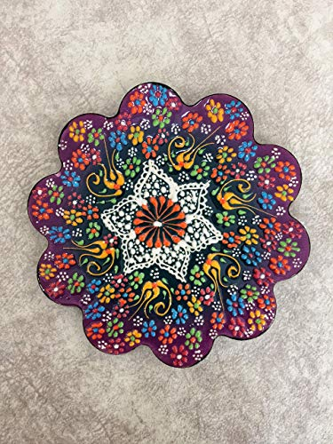 IstanbulArtWorkshop 7'' Decorative Turkish Ceramic Trivet, Tile Trivet, Ceramic Coaster, Pot Trivet, Kitchen Trivet, Table Trivet, Hot Pad, Kitchen Decor