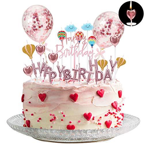 Herefun Rosegold Tortendeko, HAPPY BIRTHDAY Buchstaben/Heißluftballon/Wolke/Liebesherz Form Geburtstagskerzenset mit Kerzenablage, Konfetti Luftballon Acryl Happy Birthday Topper Geburtstag Dekoration