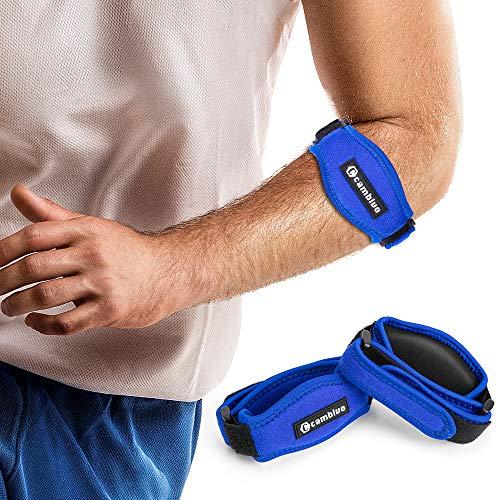 CAMBIVO 2 x Ellenbogen Bandage Damen und Herren, Sportbandage, elastische Tennisarm und Golferarm Manschette mit Kompressionspolster für Sport, Fitness, Tennis (Blau)