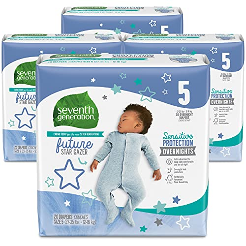 Seventh Generation Baby Free & Clear Overnight Diapers, Stage 5, 27-35lbs, 80 Count