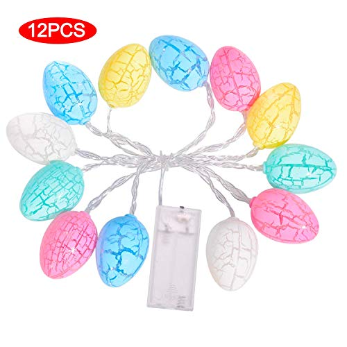 Easter Decoration Lights, 12 LED Lights 5 FT Easter Egg String Lights with Battery Powered & Switch Control, Easter Decorations for The Home Classroom Easter Garland (12 Eggs)