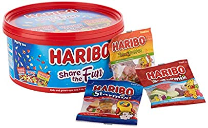 Haribo Share The Fun Mini Bags Sweets Tub, 600 g 40021