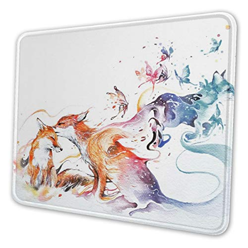 Watercolor Foxes and Butterflies Design Gaming Mouse Pad Mat Mousepad Desk Pad Non-Slip Rubber Gaming Mousepad Rectangle Mouse Pads for Computers Laptop Rubber Mice Pads Stitched Edges 11.8 X 9.8inch