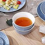 Sunting Geschirrset 6 Personen Blau Tafelservice 36 tlg. Neues Bone China Geschirr Set im Geprägtes Stil mit Rund Speiseteller Suppenteller Dessertteller Müslischüssel Kaffeetassen und Untertassen - 4