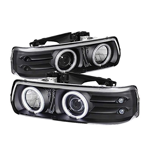 Spyder Auto PRO-YD-CS99-CCFL-BK Chevy Silverado 1500/2500/3500/Chevy Suburban 1500/2500/Chevy Tahoe Black CCFL LED Projector Headlight with Replaceable LEDs
