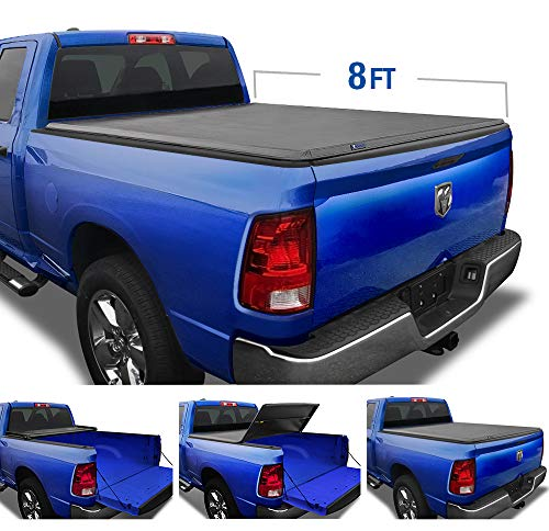 Tyger Auto TG-BC3D1012 T3 Soft Tri-Fold Black 8' Bed 2002-2018 Ram 1500 2003-2020 2500 3500 2019-2020 Classic Without RamBox or Utility Rails Truck Box Tonneau Cover
