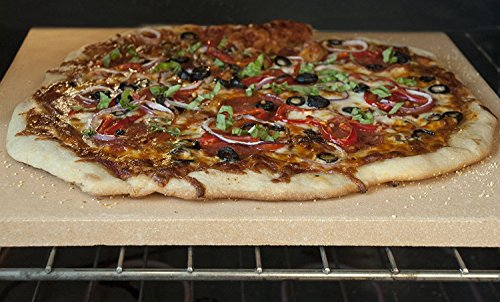 Unicook Heavy Duty Ceramic Pizza Grilling Stone, Baking Stone, Pizza Pan, Perfect for Oven, BBQ and Grill, Thermal Shock Resistant, Durable and Safe, 15x12 Inch Rectangular, 6.6Lbs
