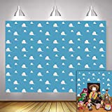 Fanghui 7x5FT Cartoon Kids Backdrop Blue Sky White Clouds Background Birthday Party Boy Baby Shower Dessert Table Banner Supplies Photo Booth Props