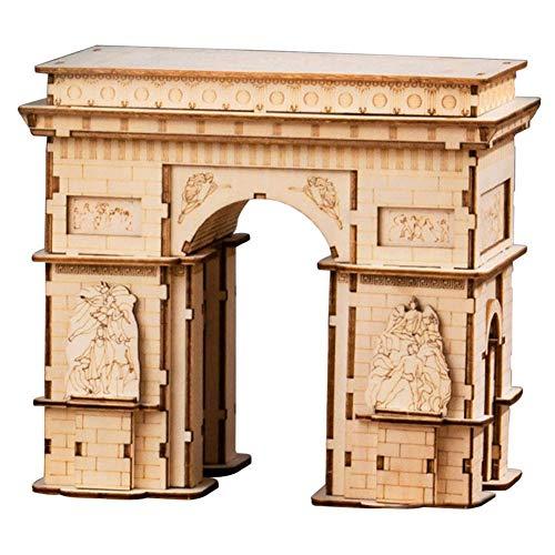 TOPD Hölzerner Triumph-Bogen-Modell-Kits, Montage 3D Holz-Puzzle, Arc de Triomphe-Modell-Gebäude-Kits für Teen und Erwachsene, Hobby Woodcraft-BAU-Kit