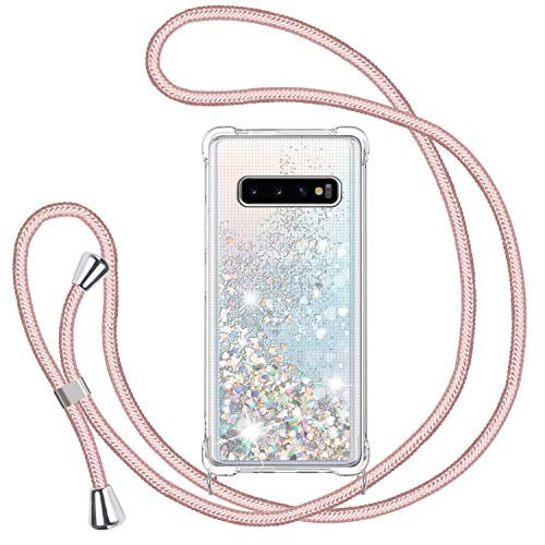 TUUT Handykette Hülle für Samsung Galaxy S10 Plus/S10+, Glitzer Quicksand Necklace Silikon Stoßfest Handyhülle mit Band Transparent TPU Schutzhülle mit Kordel zum Umhängen,Treibsand Hülle in Rosé-Gold