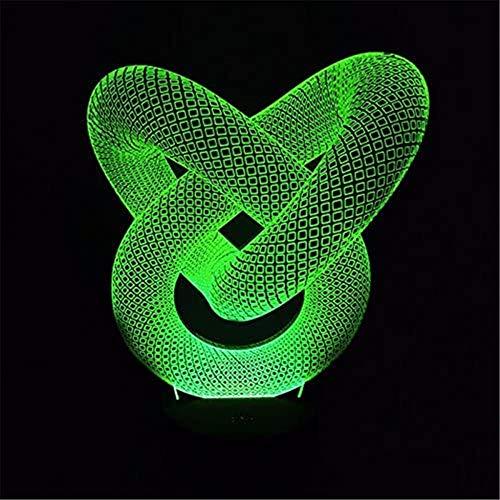 3D LED Illusion Lampe Nachtlicht Liebesknoten Abstrakt Kreis Spirale Optische Nachttisch Nachttisch Nachtlichter Beleuchtet Kinder Schlafen Beleuchtung 16 Farbwechsel Touch Taste USB-Kabel