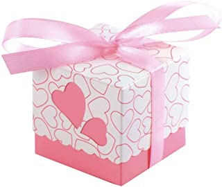 JZK 50 Pink Heart Wedding Favour Box Sweet Box Gift Box for Wedding Birthday Baby Shower Christening Graduation Christmas Party Favours Box