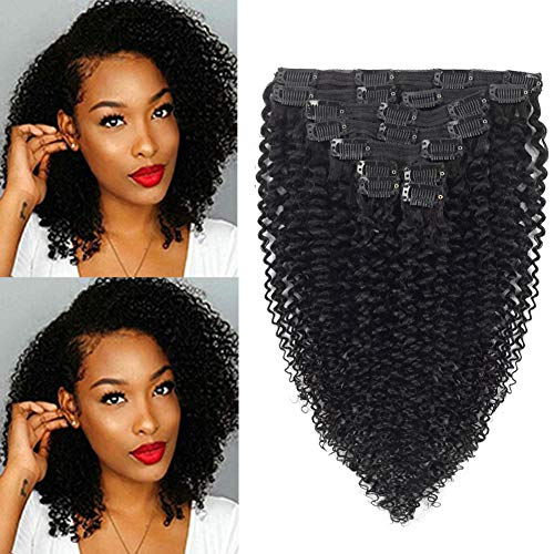 UPGRADE Kinky Curly Clip ins 12 Inches 8A Grade 4B 4C Kinkys Coily Clip in Human Hair Extensions Double Lace Wefts 1B Natural Black Color for African American Women 10Pcs/lot 120Gram/set
