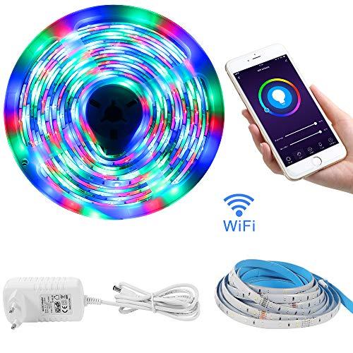 Striscia Led WiFi LOFTer 5m Strip Led 12V Fissaggio Striscia Luminosa Led TV Retroilluminazione Impermeabile IP65 Strisce Led Adesive 2835 Compatibile con Alexa Echo e Google Home