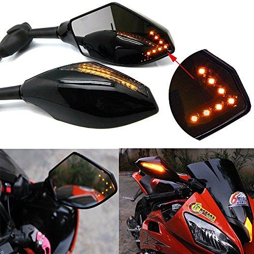 Motorcycle LED Turn Signal Rear View Mirrors with Arrow For Honda Suzuki Racing Bike Sport Bike
